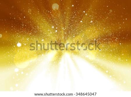 Magic light holiday background. Gold burst. Christmas background - stock photo