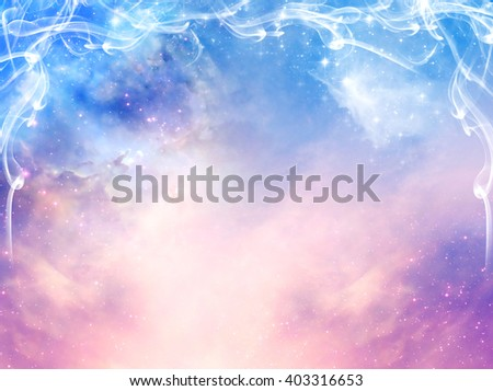 magic mystical background with stars, galaxy and light beams in blue and pink tonality - stock photo