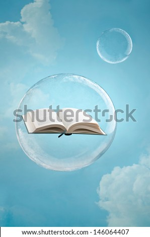 Magic of books. Open book floating in a soap bubble in the sky - stock photo