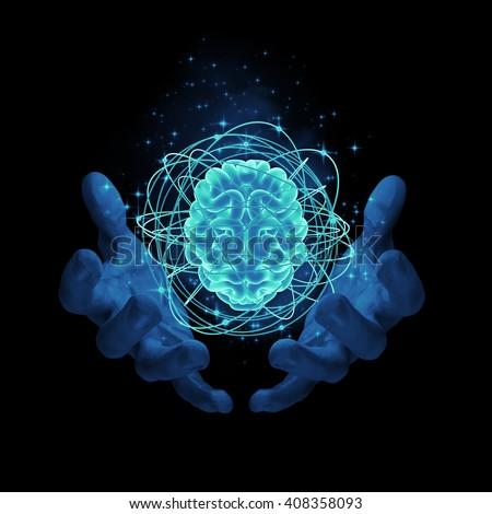 Magic on the brain / 3D render of glowing atomic brain - stock photo