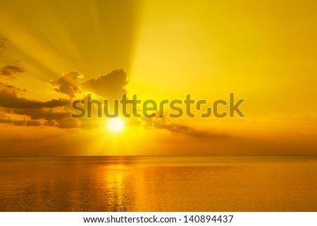 Magic orange sunset over sea - stock photo