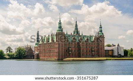 Magic photo of the lake around Castle Frederiksborg Slot, Hillerod, near Copenhagen, Denmark - stock photo
