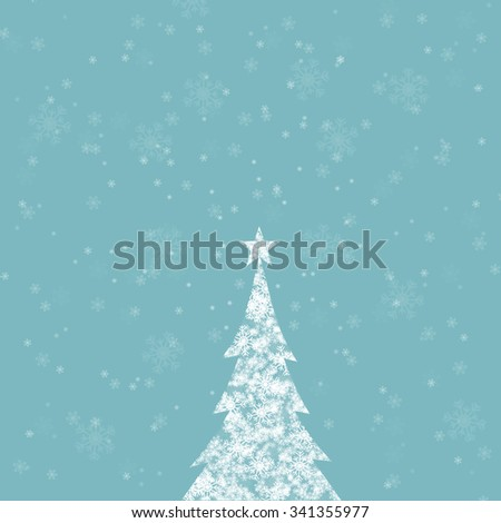 Magic snowflake Christmas tree with star shape and beautiful bright and shiny cyan blue color background with blurry snowflakes. Christmas Holiday illustration copy space background. - stock photo