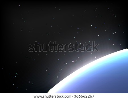 Magic Space - planets, stars and constellations, nebulae and galaxies, lights. illustration - stock photo