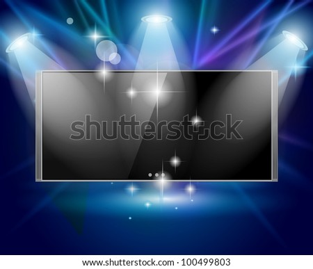 Magic Spotlights with Blue rays and glowing effect featuring a cinema tv panel. Every lights and shadows are transparents. - stock photo