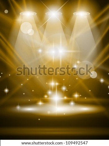 Magic Spotlights with Blue rays and glowing effect for people or product advertising. Every lights and shadows are transparent. - stock photo