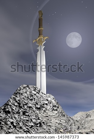 Magic sword stuck in the rock by grey night with full moon - stock photo