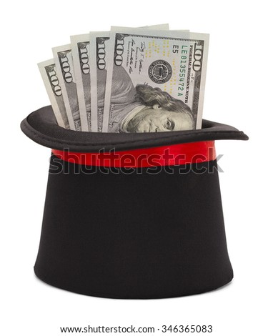Magic Top Hat with Cash Money Coming Out Isolated on White Background. - stock photo