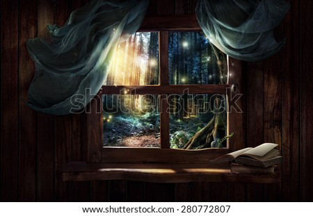 Magic window with fairy forest - stock photo