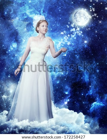 Magic woman lady of the night and the moon. Fairy night against the starry sky. Illustrations for fairy tales and legends. Queen stars playing with the moon. Sorceress of the moon and stars. Dreams. - stock photo