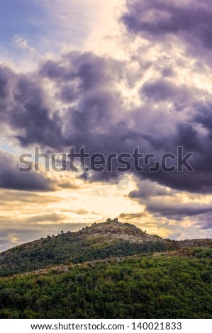 magical landscape of a mountainous region, with vibrant and mystical colors - stock photo