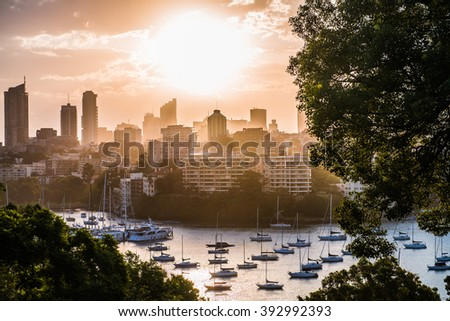 Magical moments of in a harbor of Sydney, Rushcutters bay, after beautiful sunny day. - stock photo