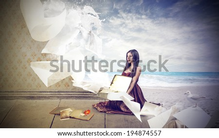 magical reading - stock photo
