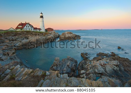 Magical sunset at the iconic Portland Head Light. Portland, Maine - stock photo