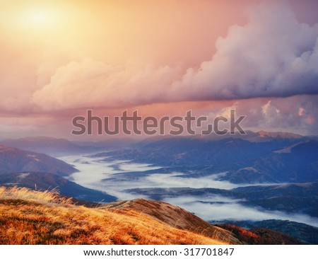 Magical sunset in the mountains Ukraine - stock photo