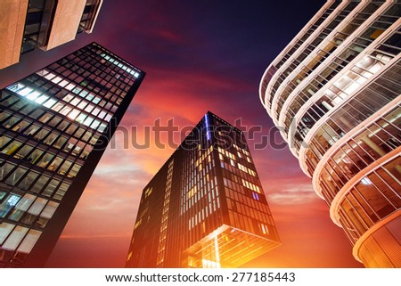 Magical sunset over skyscrapers. - stock photo