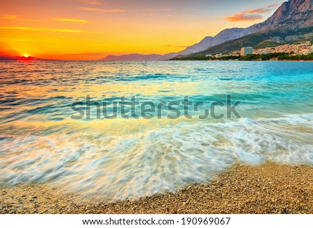 Magical sunset over the beach,Makarska,Dalmatia,Croatia - stock photo
