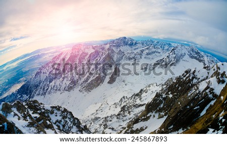 Magical sunset over the mountain - stock photo