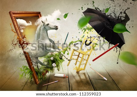Magical world of painting - stock photo