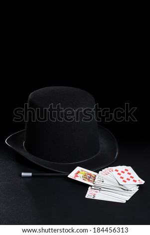 magician hat wand and cards - stock photo