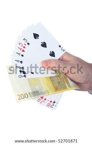 Magician make performance with card deck and two hundred euro bill - stock photo