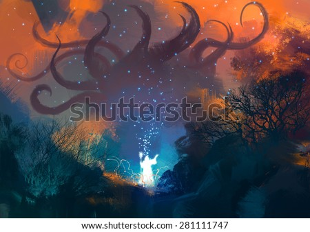 magician summoning ghostly demon,sorcerer casts a spell with his wand - stock photo