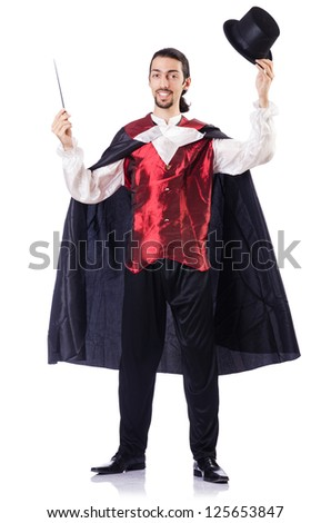 Magician with his magic wand on white - stock photo