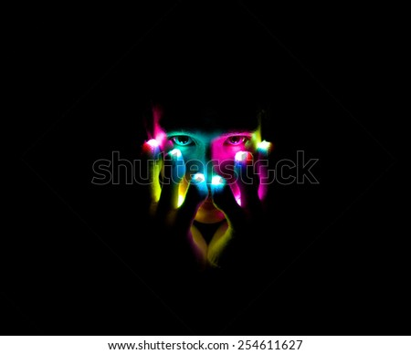 Magician with Light Gloves - stock photo
