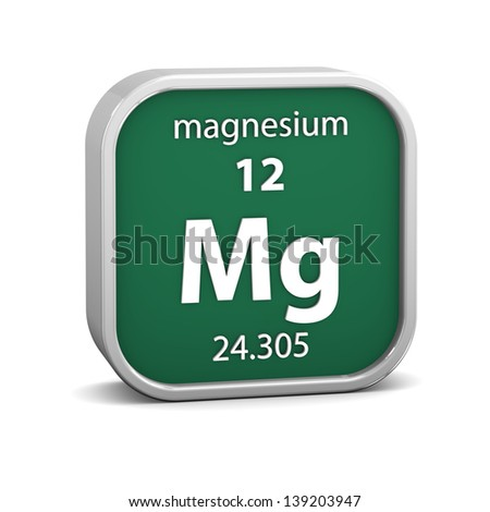 Magnesium material on the periodic table. Part of a series. - stock photo