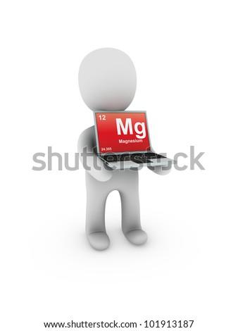 magnesium symbol on screen laptop - stock photo