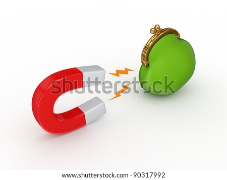 Magnet and green purse.Isolated on white background.3d rendered. - stock photo