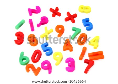 magnet numbers and math symbols - stock photo