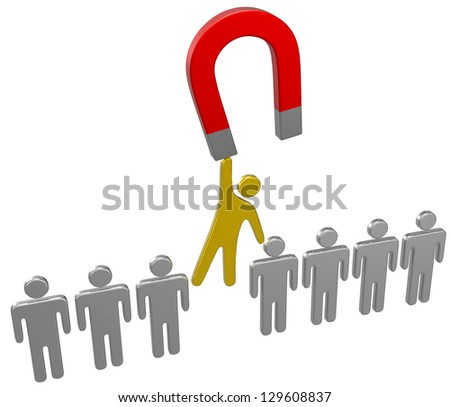 Magnet to raise best person from human resources row of people - stock photo