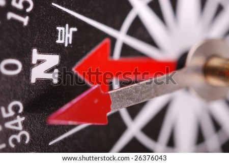 magnetic compass is indication north by korean and english - stock photo
