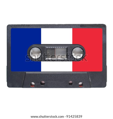 Magnetic tape cassette for audio music recording - French music - stock photo