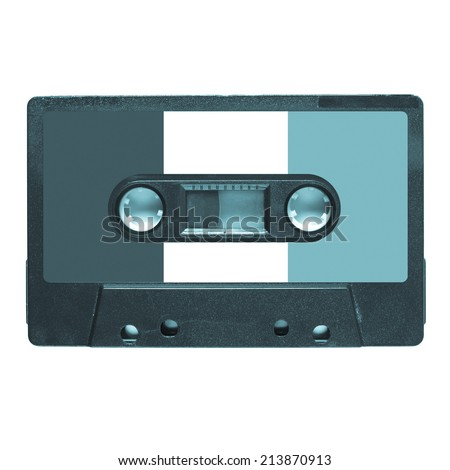 Magnetic tape cassette for audio music recording - French music - cool cyanotype - stock photo
