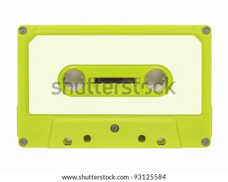 Magnetic tape cassette for audio music recording - isolated over white background - stock photo
