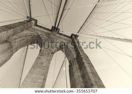 Magnificence of Brooklyn Bridge at dusk. - stock photo