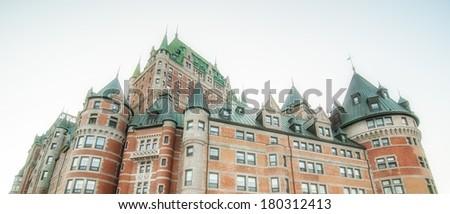 Magnificence of Hotel Chateau de Frontenac, Quebec Castle. - stock photo