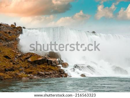 Magnificence of Niagara Falls. Wonderful colors of nature. - stock photo