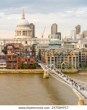 Magnificence of Saint Paul Cathedral and Millennium Bridge, London. - stock photo