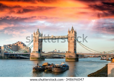 Magnificence of Tower Bridge at dusk, London. - stock photo
