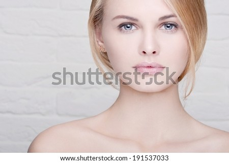magnificent close-up beauty Portrait of beautiful young woman - stock photo