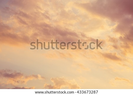 Magnificent cloudy sunset sky background - stock photo
