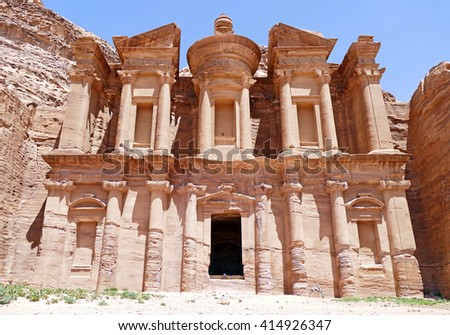 "Magnificent Exterior View of Ad Deir ""The Monastery"" in Petra, Jordan - stock photo"