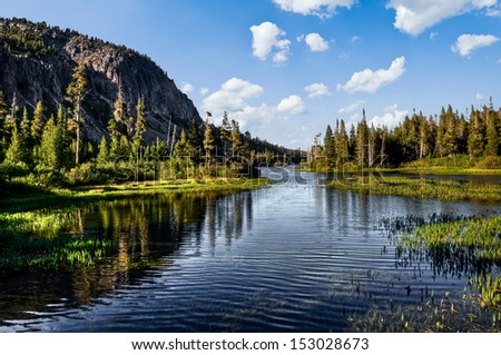 Magnificent lake scenery in a national park - stock photo