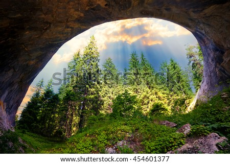 """Magnificent landscape of the natural stone arches or """"wonder bridges"""" in the Rhodopi Mountains, Bulgaria, sunset time  - stock photo"""