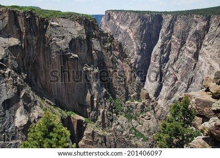 Magnificent landscape seen from Chasm view in Black canyon of the Gunnison National Park, North Rim, CO, USA - stock photo
