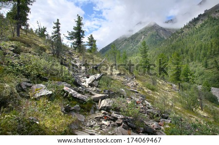 magnificent mountain scenery Eastern Sayan covered with forest and deep cloudy sky on a summer day - stock photo