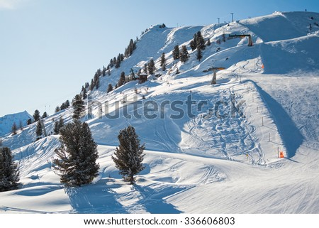 Magnificent mounting skiing resort in the Swiss Alps - stock photo